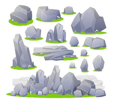 Set of grey stones in different shapes and sizes vector illustration. Collection of various boulders on green grass cartoon design. Isolated on white background