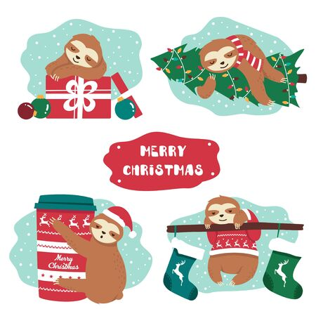 Set of cute lazy festive christmas sloth and decor vector illustration. Animal in knitted sweater hug xmas tree cup of hot chocolate and present box flat style. Text on red sign. Isolated on white Ilustrace