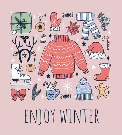 Winter elements collection with festive lettering vector illustration. Knitted hat and sweater box with present gloves skates and antlers flat style on pink background. Xmas concept Ilustração