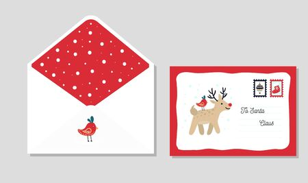 Letter template to santa with cute red envelope vector illustration. Front and back view of festive mail to north pole cartoon design. Christmas and winter holiday concept