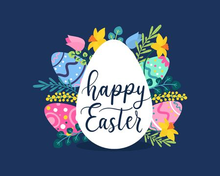 Happy Easter greeting card with flowers and lettering vector illustration. Cheerful spring holiday flat style. Blooming flowers and painted eggs. Isolated on navy background