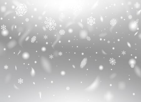 Beautiful fluffy snowflakes flying in air vector illustration. Winter snowfall texture flat style. Happy holiday and christmas concept. Realistic grey background