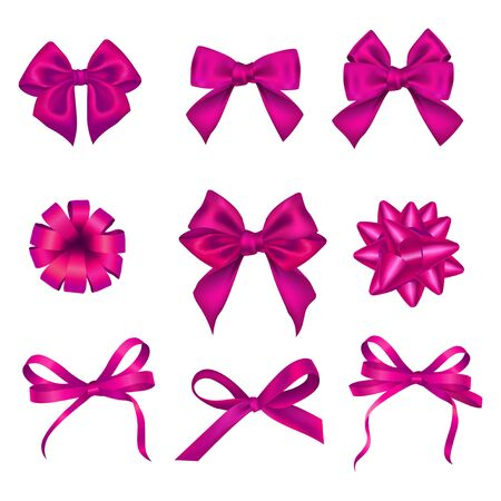 Set of various festive pink bows for celebration vector illustration. Holiday or birthday elements for decoration gift flat style. Shiny bright ribbons. Isolated on white background Illustration