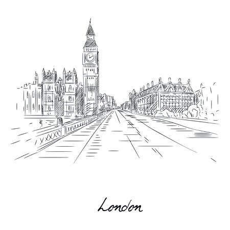 Beautiful london city sketch with pencil on paper vector illustration. Street of famous city flat style. Modern art and architecture concept. Isolated on white background