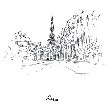 Beautiful paris city sketch painted with pencil on paper vector illustration. Street of famous city flat style. Modern art and architecture concept. Isolated on white background Vectores