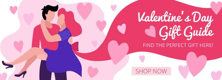 Valentines day banner gift guide with lovers vector illustration. Find the perfect gift here online shopping ad template with shop now button flat style. Love and Feast of Saint Valentine concept