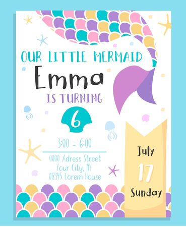 Cute mermaid birthday costume party invitation vector illustration. Address information about festive event flat style. Childhood concept. Isolated on blue background