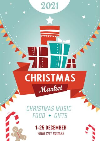 Bright colourful christmas market poster template vector illustration. Nameplate with lettering flat style. Advertising banner. Joyful and fun event. Happy new year and xmas concept