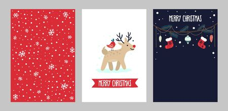 Merry christmas and happy holidays greeting cards set vector illustration. Collection of festive season templates cartoon design. Winter holidays concept