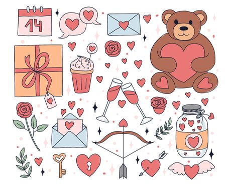 Valentines day stickers with cute decorations vector illustration. Teddy bear bottle with hearts rose cupid arrow box with gift and glasses with champagne flat style. Holiday and love concept