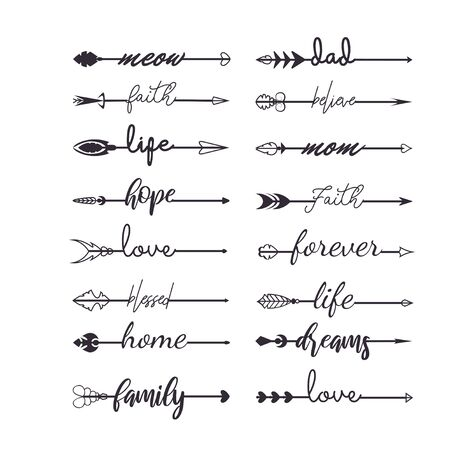 Set of arrows with inscription in boho style vector illustration. Tattoo or print template collection flat style. Handwritten lettering. Isolated on white background Vektoros illusztráció
