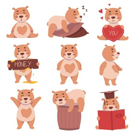 Cute bear characters in different activities and situations set vector illustration. Funny bears with various emotions. Teddy-bear sleeping, sitting, reading and playing. Isolated on white