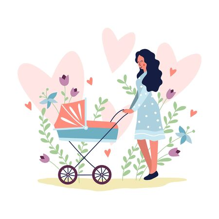 Young woman walking with baby in baby carriage in park vector illustration. Pink hearts flat style. Female in dress outdoors. Parenthood concept. Isolated on white background Illustration