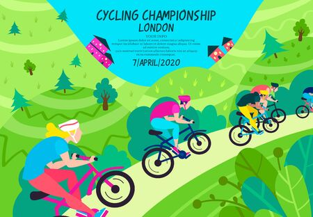 Cycling championship in green wooded area vector illustration. Sport competition on bikes flat style. People in sportswear riding on road. Winner. Active lifestyle concept
