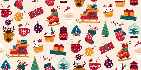 Merry christmas colourful seamless pattern vector illustration. Reindeer decoration ball tree and skating flat style. Bright decor for winter holiday concept. Isolated on white background