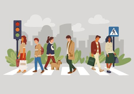 Walking people on crosswalk crossing with dog vector illustration. Traffic lights flat style. City street with pedestrian. Crowd in urban environment. Isolated on grey background Illustration