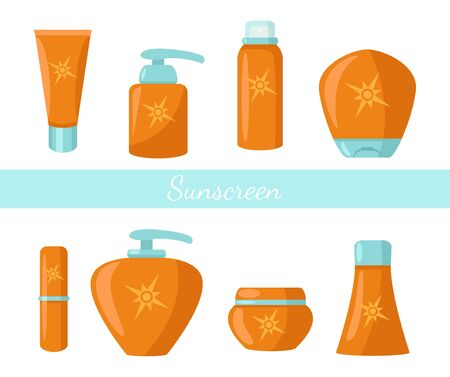 Collection of sunscreen protection bottles cosmetics vector illustration. Plastic containers with lotion flat style. Summer and sun care concept. Isolated on white background Illustration