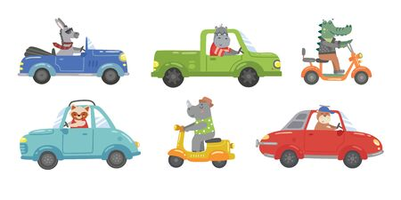 Cute bright animals ceremony in colourful cars vector illustration. Different vehicle flat style. Road movement or traffic. Crocodile hippo and rhino. Isolated on white background