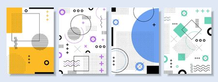 Set of colourful abstract geometric banners vector illustration. Collection of cool bright covers flat style. Trendy design compositions concept. Isolated on blue background