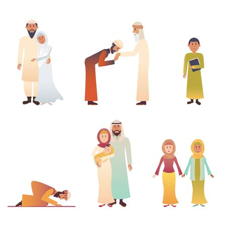 Set of muslim characters in national costumes vector illustration. Father mother and children flat style. Man pray. People in different poses. Isolated on white background Illustration