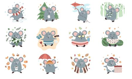 Cute mouse character set isolated on white background vector illustration. Cute mice with different emotions and activities. Mouses skating, playing snowballs, flying kite, sleeping Illustration