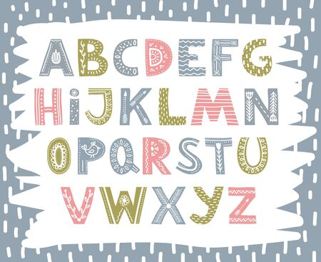 Cute colourful font in scandinavian style vector illustration. Hand drawn roman alphabet font flat style. Bright colored letters arranged in alphabetical order. Isolated on blue background