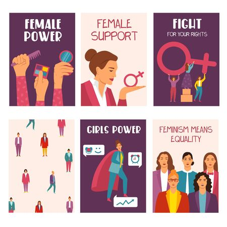 Feminism movement cards collection on white background vector illustration. Set of female power, support, fight for rights, feminism means equality flyers flat style design Illustration