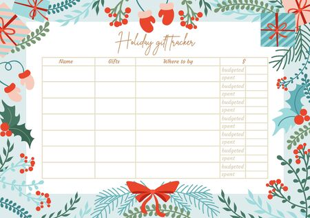 Holiday gift tracker template with lettering vector illustration. Colourful decoration for calendar flat style. Xmas. Winter holiday and christmas present concept Illustration