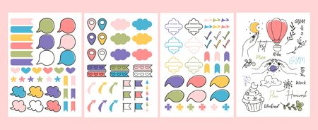Colourful bright stickers and planner signs vector illustration. Blanks for kindergarten or personal use flat style. Template concept. Isolated on pink background