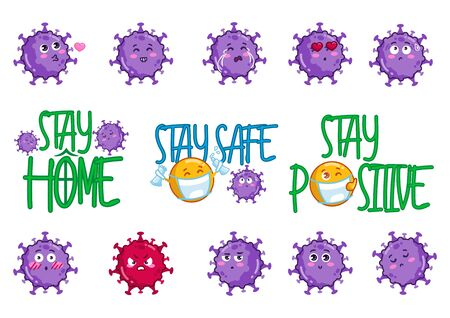 Virus stickers collection stay home stay safe vector illustration. Cute germ bacteria flat style. Bright character with different emotions. Infection concept. Isolated on white background
