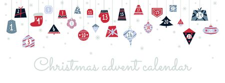 Colourful festive christmas advent calendar vector illustration. Numbers from one to twenty five flat style. Xmas decoration. New year concept. Isolated on white background Illustration