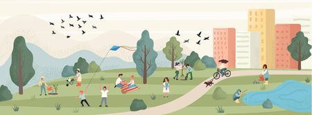Spring leisure with peaceful park landscape vector illustration. People enjoy weekend on nature flat style. Picnic gardening and funny games. Spare time and happiness concept Vektorgrafik