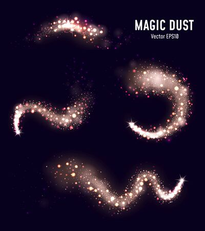 Collection of magic dust with sparkles on black vector illustration. Golden shiny glitter flat style. Festive and glamour pattern. Isolated on dark background Illustration