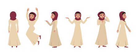Muslim girl character in different poses and emotions vector illustration. Moslem woman in traditional costume flat style. Facial expressions. Isolated on white background Illustration