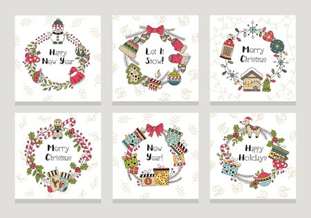 Merry christmas and happy new year cards set vector illustration. Let it snow flat style. Bright decoration. Xmas and winter seasonal holiday concept. Isolated on grey background