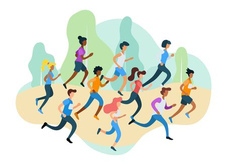 Running sporty people take part in marathon vector illustration. Group of people competing for win flat style. Active lifestyle and competition concept. Isolated on white background Illustration