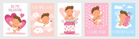 Set of cute valentines day cards with little boy vector illustration. I love you forever love and be my valentine lettering flat style. Sweet greeting. Relationship and holiday concept Illustration