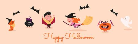 Happy halloween greeting card or banner with character vector illustration. Funny creatures and bats flat style. Scary autumn holiday concept. Isolated on pink background Illustration