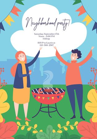 Neighborhood party invitation template with address vector illustration. Happy man and woman waving hands near bbq flat style. Weekend party and leisure concept