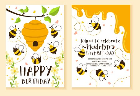 Kids party invitation with bees design template vector illustration. Bright bees and beehive flat style. Happy birthday fun celebration concept. Isolated on peach background