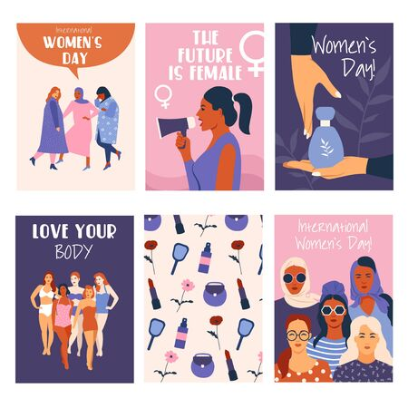 Women's day festive colourful cards collection vector illustration. Set of flyers with motivational quotes love your body, future is female, international womens day. Isolated on white background Illustration