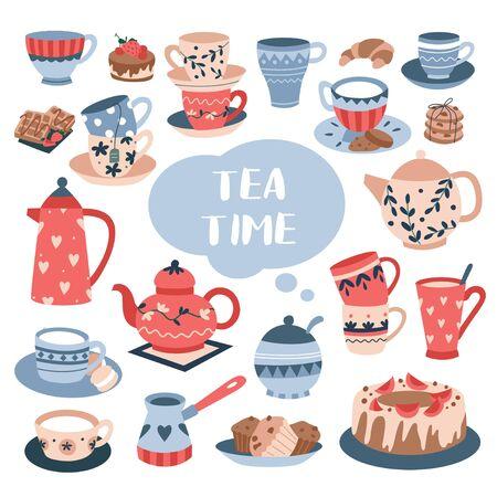 Tea time ceremony with luxury ceramic tableware vector illustration. Elegant dinner service flat style. Blue lettering. Tasty homemade baked goods. Isolated on white background Illustration