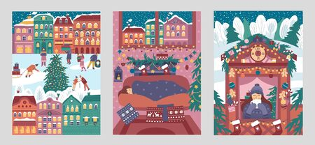 Set of merry christmas and happy new year cards vector illustration. Bright colourful posters flat style. Xmas and winter holiday concept. Isolated on grey background Illustration