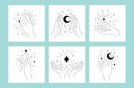 Set of beautiful linear  with hands vector illustration. Collection of hand and decorative starts and moon flat style. Modern artwork concept. Isolated on blue background