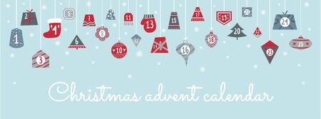 Christmas festive advent calendar with numbers vector illustration. Handwritten lettering flat style. Winter decoration and holiday concept. Isolated on blue background