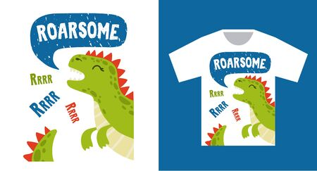 Bright dinosaur tshirt print design with text vector illustration. Template with stylish outfit with wild animal flat style. Roarsome inscription. Garment industry concept Illustration