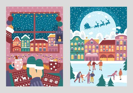 Merry christmas greeting cards colourful set vector illustration. Ice rink and snowflakes flat style. Winter holiday and xmas concept. Isolated on grey background