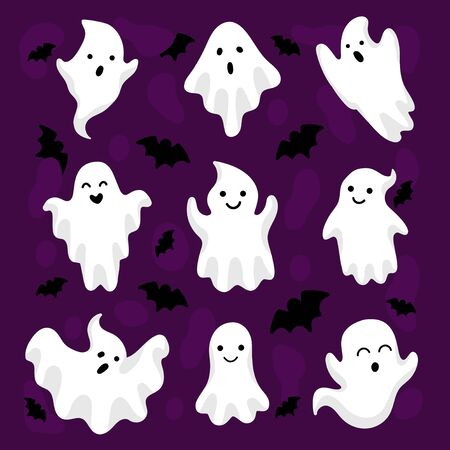 Happy halloween cute ghosts and bats collection vector illustration. Halloween character with various emotions flat style. Kind monster making faces. Isolated on violet background