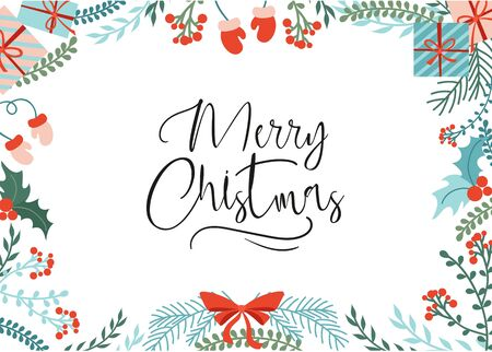 Bright greeting card with merry christmas lettering vector illustration. Red gloves present box with ribbon flat style. Handwritten inscription. Isolated on white background Illustration