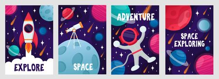 Abstract cosmic cards set with lettering vector illustration. Explore space and adventure text flat style. Cosmonaut and spaceship. Galaxy concept. Isolated on grey background